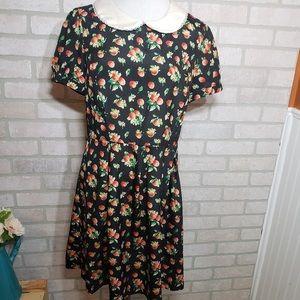 Apple Print Peter Pan Collar Dress